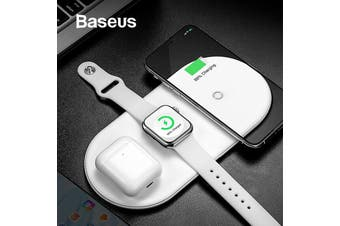 Baseus 3 IN 1 Wireless Charging Pad White for Phone/ iWatch/ Apple Airpods [White]