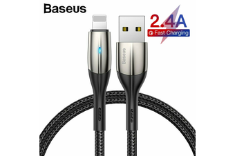 Baseus Fast Charging Lightning Cable with LED light for iPhone Series [1m Black]
