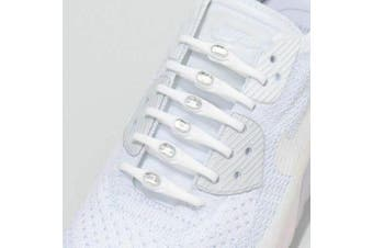HICKIES with Crystals from Swarovski  No Tie Shoelaces Adult White /Clear Crystal
