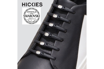 HICKIES with Crystals from Swarovski  No Tie Shoelaces Adult  Black /Clear Crystal