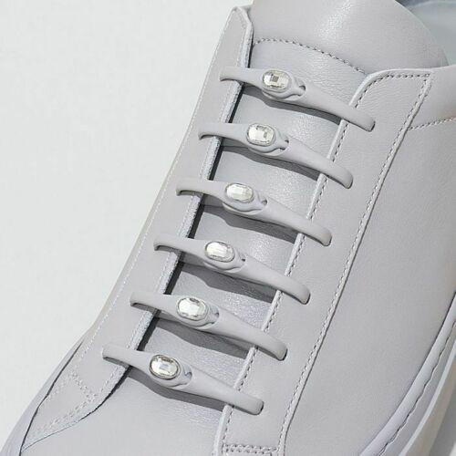 Tie Shoelaces Adult Grey /Clear Crystal