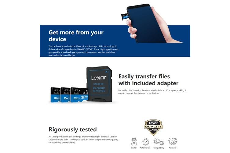 Lexar 128GB High-Performance Micro SDHC/MicroSDXC UHS-I Card (633x)