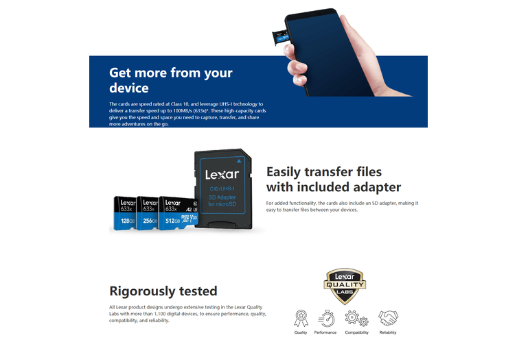 Lexar 512GB High-Performance Micro SDHC/MicroSDXC UHS-I Card (633x)