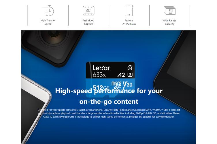 Lexar 256GB High-Performance Micro SDHC/MicroSDXC UHS-I Card (633x)