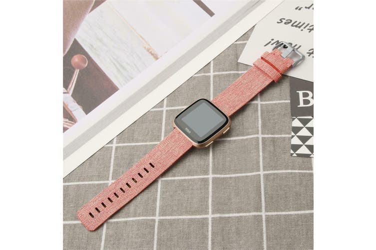Fitbit Versa Woven Fabric Replacement Wrist Band [Large, Pink Sand]