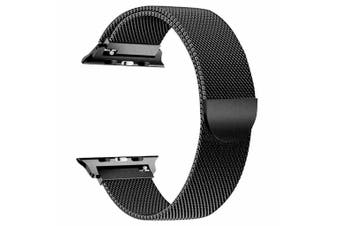 Apple Watch Series 1/2/3/4 Milanese Magnetic Stainless Steel Wrist Band [38mm, Black]