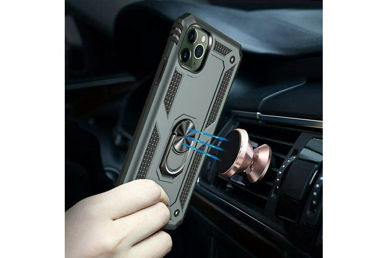 Shockproof Armor Ring Holder Heavy Duty Case Cover For iPhone X [Black]