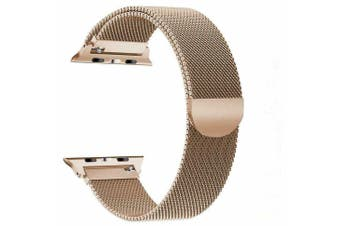 Apple Watch Series 1/2/3/4 Milanese Magnetic Stainless Steel Wrist Band [42mm,Vintage Gold ]