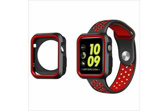 Apple Watch Series 5 4 3 2 1 TPU Bumper Protective Case [ 44mm, Black/Red]