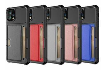 For iPhone 7/8 Slide Armor Wallet Case Card Slots Holder Cover [Black]