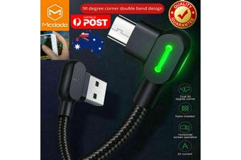 MCDODO 90 Degree Right Angle Micro USB Charging Charger Cable Samsung Android LG  [1.2m, Black]