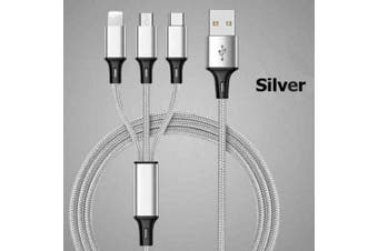 3 in 1 Charging Cable Lightning Type-C Micro USB Quick Charge Cable [Silver]
