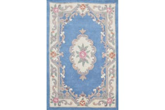 Hand Carved Wool Rug - Avalon - Blue