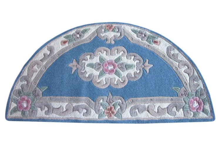 Hand Carved Wool Rug - Avalon - Blue - 67x127cm