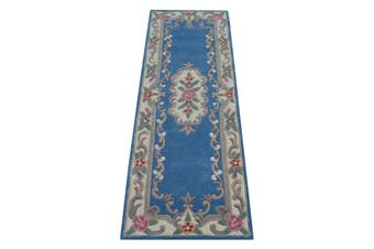 Hand Carved Wool Rug - Avalon - Blue - 67x210cm
