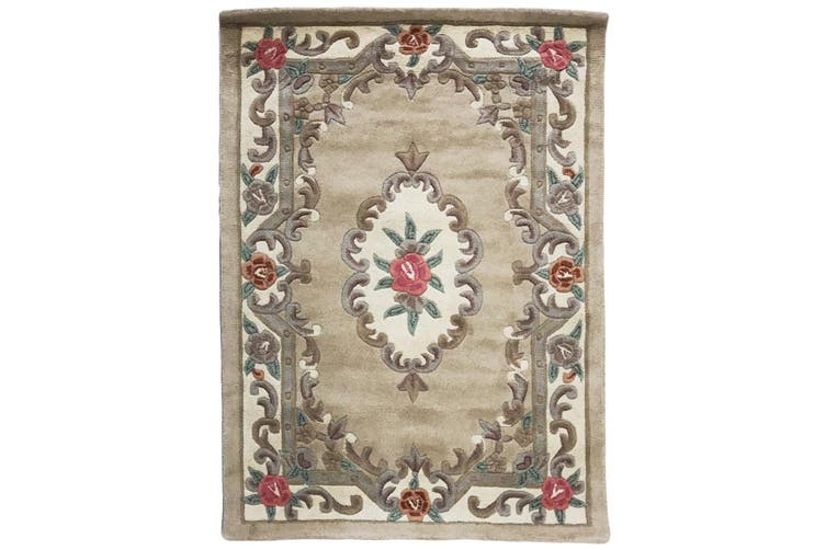 Hand Carved Wool Rug - Avalon - Beige - 150x240cm