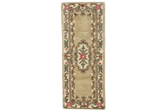 Hand Carved Wool Rug - Avalon - Beige - 67x210cm