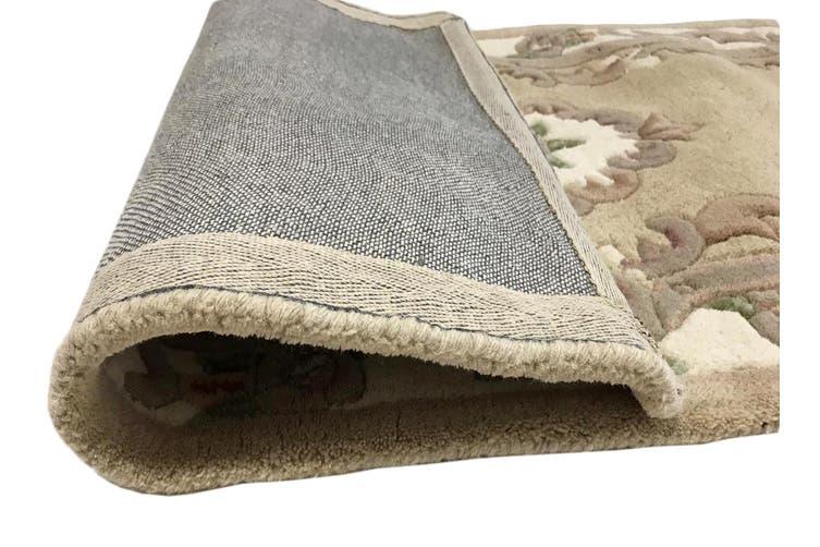 Hand Carved Wool Rug - Avalon - Beige - 67x210cm