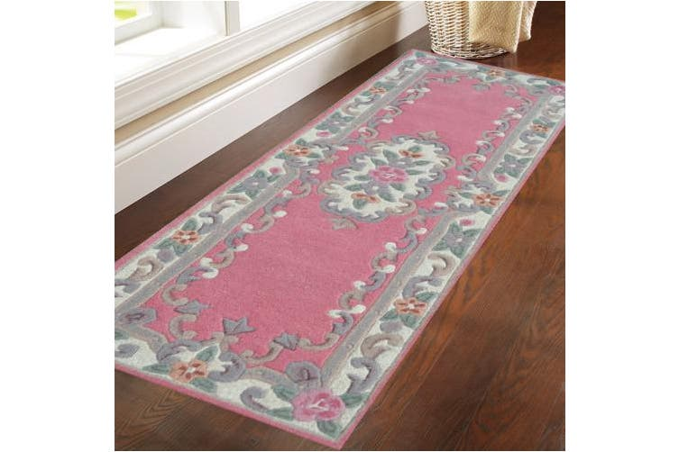 Hand Carved Wool Rug - Avalon - Pink - 67x210cm