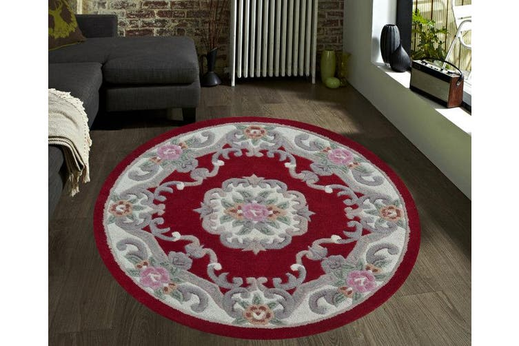 Hand Carved Wool Rug - Avalon - Red - 120x120cm