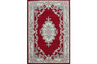 Hand Carved Wool Rug - Avalon - Red - 120x180cm