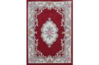 Hand Carved Wool Rug - Avalon - Red