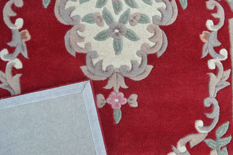 Hand Carved Wool Rug - Avalon - Red - 67x210cm
