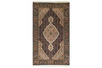 Vintage Handknotted Fine Wool Rug - Tabriz Mahi - Black/Black - 70x138cm