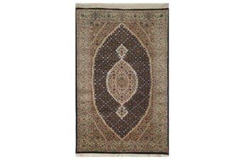 Vintage Handknotted Fine Wool Rug - Tabriz Mahi - Black/Cream - 74x142cm