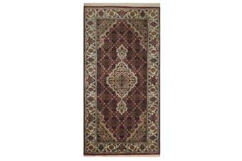 Vintage Handknotted Fine Wool Rug - Tabriz Mahi - Red/Cream - 74x142cm