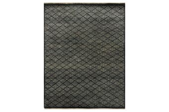Designer Handknotted Wool Rug - New York - Charcoal - 242x295cm