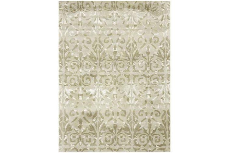 Designer Handmade Wool & Viscose Rug - Botanical 1071 - Beige - 160x230cm