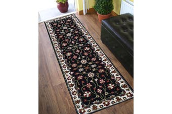 Evergreen Kashan Handmade Woolen Runner Rug - 902 - Black/Cream - 80x300cm