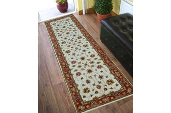 Evergreen Kashan Handmade Woolen Runner Rug - 902 - Cream/Rust - 80x300cm