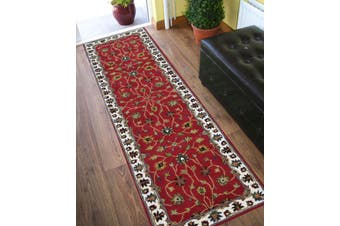 Evergreen Kashan Handmade Woolen Runner Rug - 902 - Red/Cream - 80x300cm