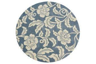 Designer Handmade Round Wool Rug - 5066 - Blue - 150x150cm