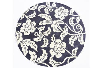 Designer Handmade Round Wool Rug - 5066 - Charcoal - 150x150cm