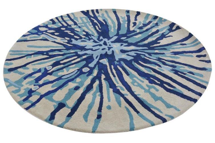 Designer Handmade Round Wool Rug - 5067 - Blue - 150x150cm