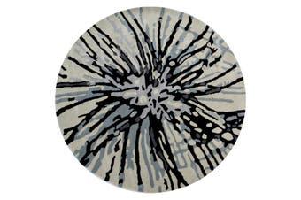 Designer Handmade Round Wool Rug - 5067 - Grey - 150x150cm
