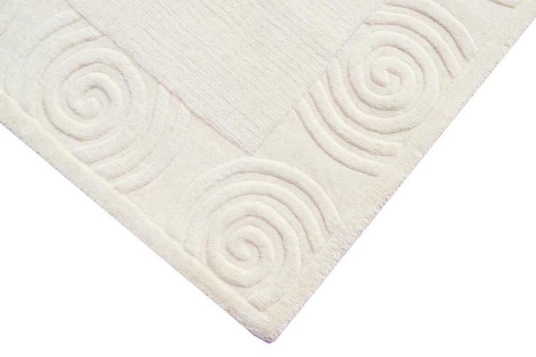 Handmade Contemporary Wool Rug - Carousal 656 - Ivory - 160x230cm