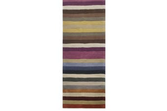 Trendy Multicolour Handmade Striped Wool Rug - 1054 - Multicolour