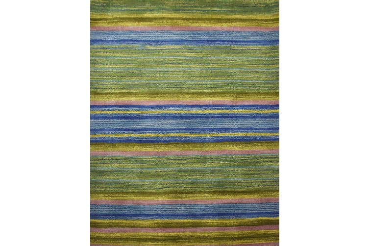 Designer Handmade Wool Rug - Infinite 1101 - Green - 110x160cm