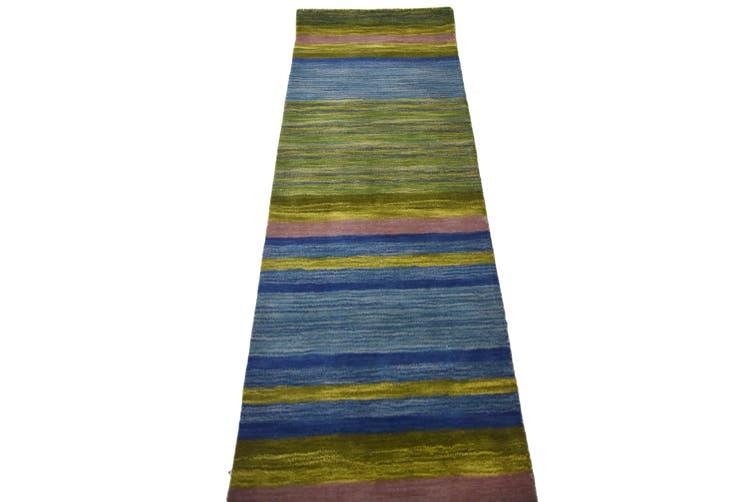 Designer Handmade Wool Rug - Infinite 1101 - Green - 80x300cm