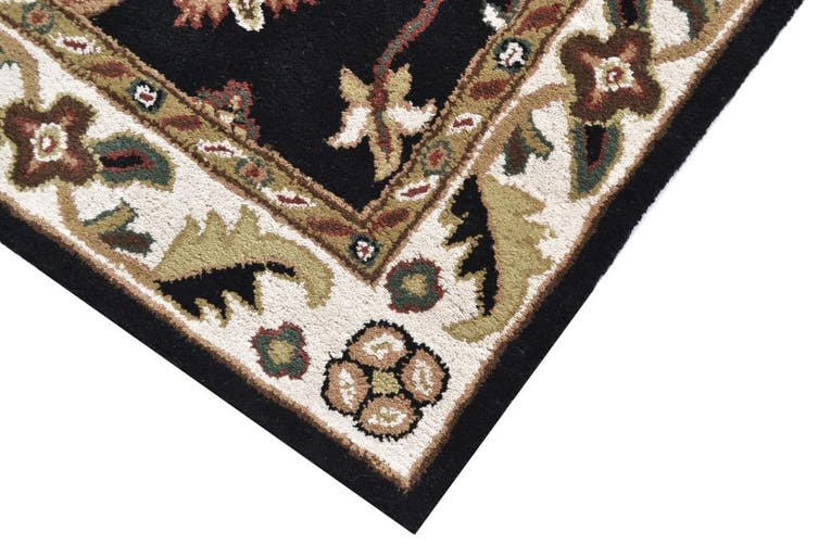 Handmade Floral Wool Rug - Kashan1- Black/Cream - 190x280cm