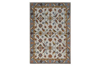 Handmade Floral Wool Rug - Kashan1- Cream/Grey - 160x230cm
