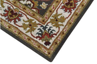 Handmade Floral Wool Rug - Kashan2- Grey/Cream - 190x280cm
