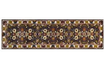 Handmade Floral Wool Rug - Kashan2- Grey/Cream