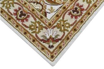Handmade Floral Wool Rug - Kashan2- Ivory/Cream - 190x280cm