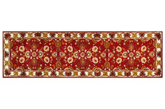 Handmade Floral Wool Rug - Kashan2- Red/Cream