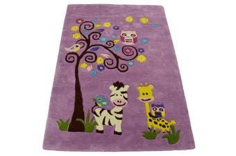 Handmade Kids Wool Rug - K-136 - Pink - 110x160cm